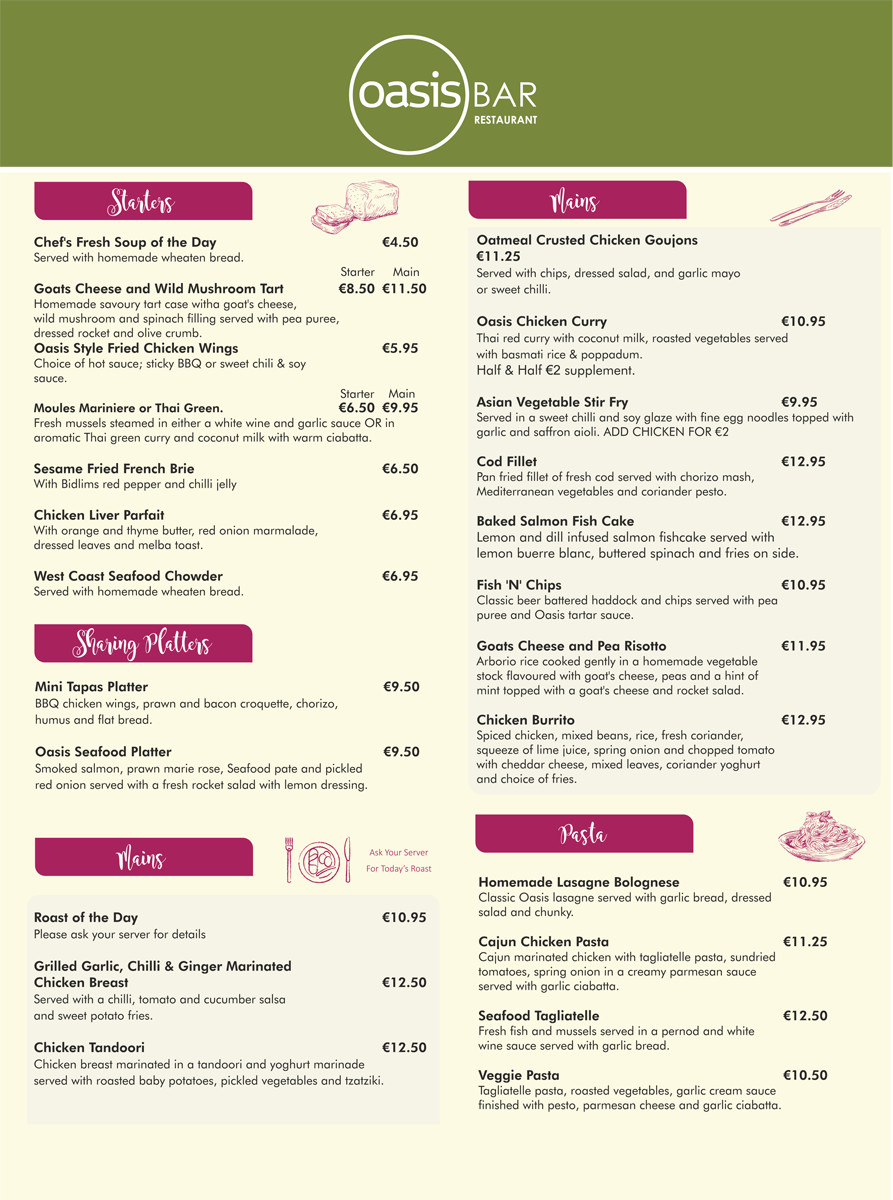 Oasis Bar Letterkenny Main Menu