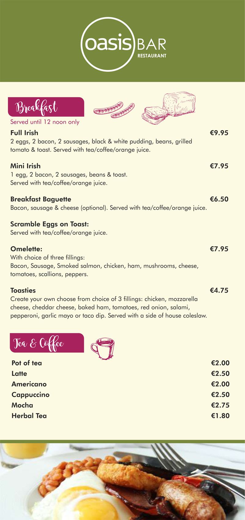 Oasis Bar Letterkenny - Breakfast Menu